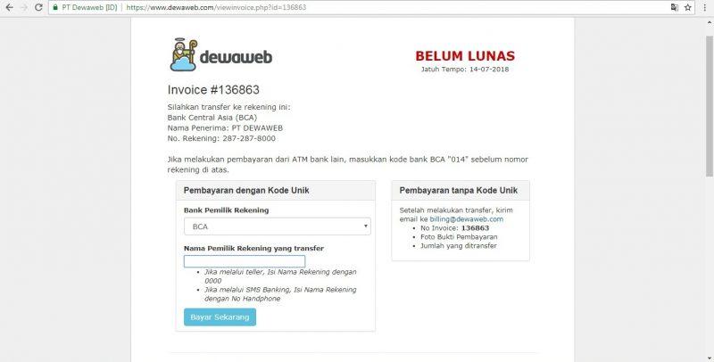Invoice Dewaweb, web security Dewaweb