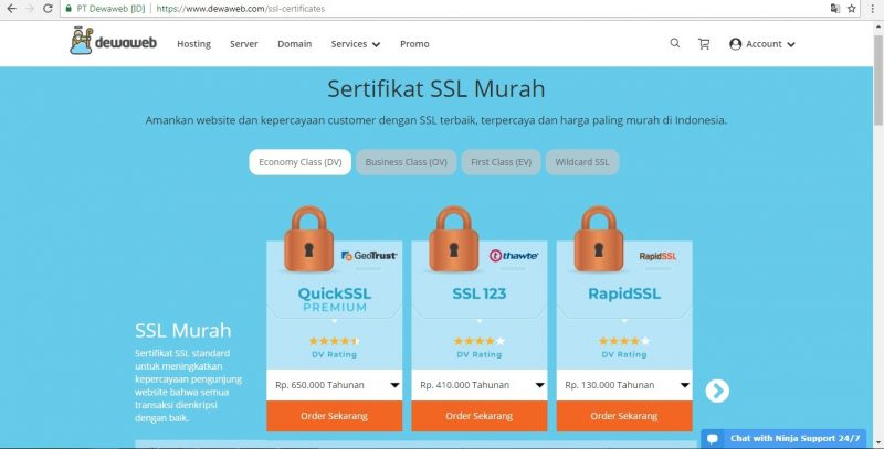 SSL Certificate Dewaweb, web security Dewaweb