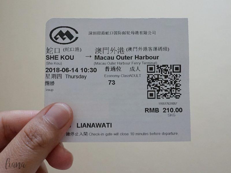 jalan jalan ke Macau, ferry Shenzhen ke Macau